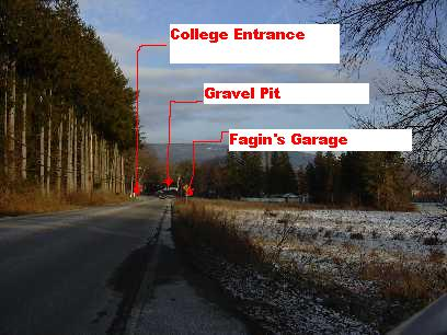 College entrance and gravel pit